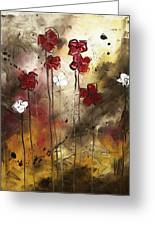 Abstract Art Original Flower Painting Floral Arrangement By Madart Greeting Card by Megan Duncanson