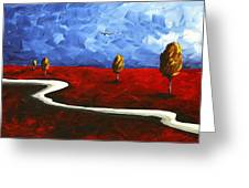 Abstract Art Original Landscape Painting Winding Road By Madart Greeting Card by Megan Duncanson