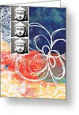 Abstract Buddha Greeting Card by Linda Woods