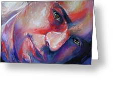 Abstract Portrait Greeting Card by Marcia Baldwin