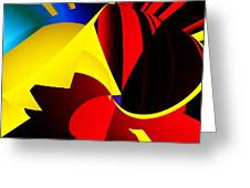 Abstract Red And Yellow Greeting Card by David Lane
