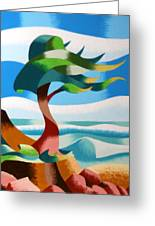 Abstract Rough Futurist Cypress Tree Greeting Card by Mark Webster