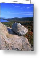Acadia Bubble Rock Autumn Greeting Card by John Burk