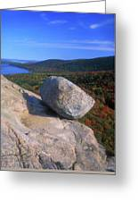 Acadia Bubble Rock Autumn Greeting Card by John Burk
