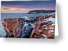 Acadian Cliffs Winter Sunrise 1 Greeting Card by Susan Cole Kelly