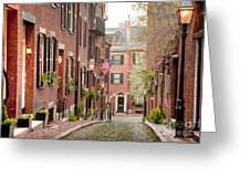 Acorn Street Greeting Card by Susan Cole Kelly