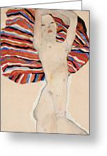Act Against Colored Material Greeting Card by Egon Schiele