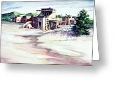 Adobe Pueblo Greeting Card by Connie Williams