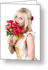 Adorable Florist Woman Smelling Red Flowers Greeting Card by Ryan Jorgensen