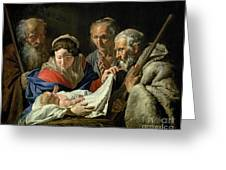 Adoration Of The Infant Jesus Greeting Card by Stomer Matthias