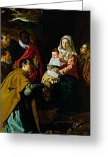Adoration Of The Kings Greeting Card by Diego rodriguez de silva y Velazquez