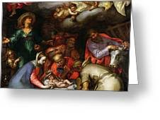 Adoration of the Shepherds Greeting Card by Abraham Bloemaert