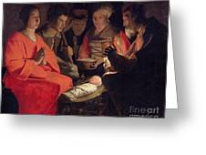 Adoration Of The Shepherds Greeting Card by Georges de la Tour