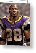 Adrian Peterson Standing Greeting Card by Douglas Petty