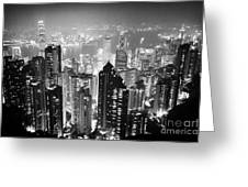 Aerial View Of Hong Kong Island At Night From The Peak Hksar China Greeting Card by Joe Fox