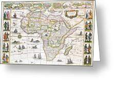 Africa Nova Map Greeting Card by Willem Blaeu