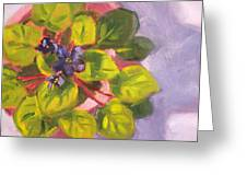 African Violet Still Life Oil Painting Greeting Card by Nancy Merkle