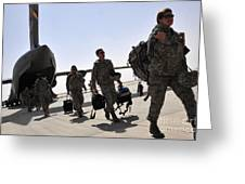 Airmen Arrive In Iraq In Support Greeting Card by Stocktrek Images