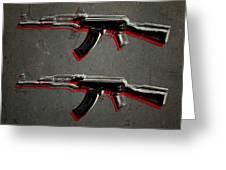 Ak47 Assault Rifle Pop Art Greeting Card by Michael Tompsett