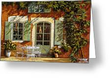 al fresco in cortile Greeting Card by Guido Borelli