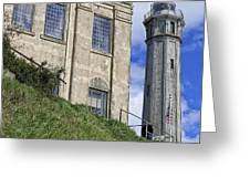 ALCATRAZ CELL HOUSE and LIGHTHOUSE Greeting Card by Daniel Hagerman