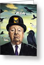 Alfred Hitchcock Greeting Card by Leah Saulnier The Painting Maniac