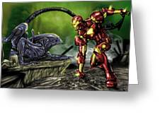 Alien Vs Iron Man Greeting Card by Pete Tapang