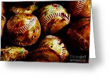 All American Pastime - A Pile Of Fastballs - Electric Art Greeting Card by Wingsdomain Art and Photography