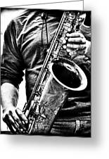 All Blues Man With Jazz On The Side Greeting Card by Bob Orsillo