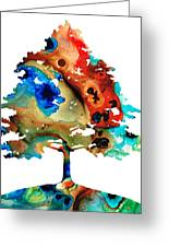All Seasons Tree 3 - Colorful Landscape Print Greeting Card by Sharon Cummings