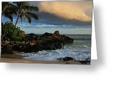 Aloha Naau Sunset Paako Beach Honuaula Makena Maui Hawaii Greeting Card by Sharon Mau