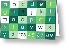 Alphabet Green Greeting Card by Michael Tompsett