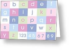 Alphabet Pastel Greeting Card by Michael Tompsett