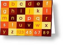 Alphabet Sunset Greeting Card by Michael Tompsett