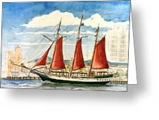 American Rover At Waterside Greeting Card by Vic Delnore