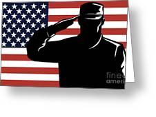 American Soldier Salute Greeting Card by Aloysius Patrimonio
