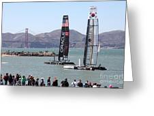 America's Cup Racing Sailboats In The San Francisco Bay - 5d18253 Greeting Card by Wingsdomain Art and Photography