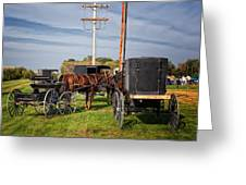 Amish At The Auction Greeting Card by Al  Mueller