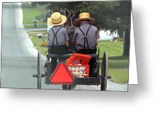 Amish Boys On A Ride Greeting Card by Lori Seaman