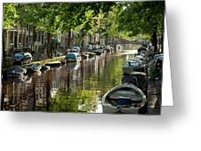 Amsterdam Canal Greeting Card by Joan Carroll