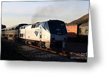 Amtrak Trains At The Niles Canyon Railway In Historic Niles District California . 7d10856 Greeting Card by Wingsdomain Art and Photography
