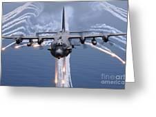 An Ac-130h Gunship Aircraft Jettisons Greeting Card by Stocktrek Images