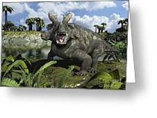 An Estemmenosuchus Mirabilis Stands Greeting Card by Walter Myers