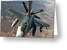 An F-16 Fighting Falcon Receiving Fuel Greeting Card by Stocktrek Images