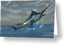 An Iridescent Blue Marlin Bursts Greeting Card by Corey Ford