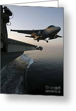 An S-3b Viking Clears The Flight Deck Greeting Card by Stocktrek Images