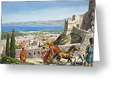 Ancient Corinth Greeting Card by Roger Payne