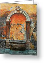 Ancient Italian Fountain Greeting Card by Charlotte Blanchard