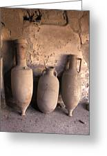 Ancient Wine Clay Vases  In A Wine Greeting Card by Richard Nowitz