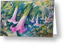 Angels Trumpets I Greeting Card by Marilyn Young